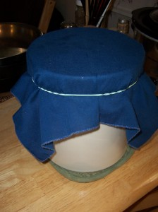 cover crock with a cloth & rubber band and let cool.