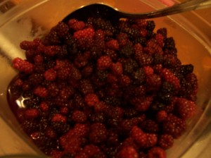 2 quarts of thawed blackberries, picked this summer in our yard