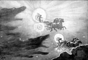 """""""The Wolves Pursuing Sol and Mani"""" by John Charles Dollman - Guerber, H. A. (Hélène Adeline) (1909). Myths of the Norsemen from the Eddas and Sagas. London : Harrap. This illustration facing page 8. Digitized by the Internet Archive and available from http://www.archive.org/details/mythsofthenorsem00gueruoft Some simple image processing by User:Haukurth. Licensed under Public Domain via Wikimedia Commons - http://commons.wikimedia.org/wiki/File:The_Wolves_Pursuing_Sol_and_Mani.jpg#mediaviewer/File:The_Wolves_Pursuing_Sol_and_Mani.jpg"""